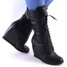 womens black combat boots size 9 black lace up zipper combat womens flat knee high boots