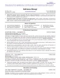 resume examples customer service manager