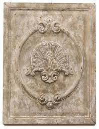 maconnerie country white carved wood wall panel