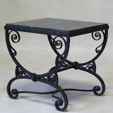 Coffee Table Small Art Deco Wrought Iron Table With Green Marble