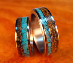Turquoise Wedding Rings by Titanium Rings Wedding Rings Turquoise Rings Tigers Eye Rings