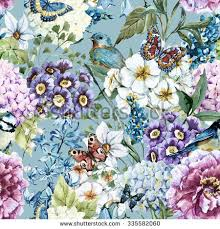 Flowers For Birds And Butterflies - watercolor floral vintage pattern flowers birds stock illustration