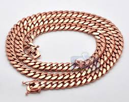mens rose gold necklace images Mens miami cuban link chain solid 14k rose pink gold 9mm 30 quot jpg