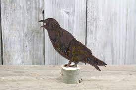 pheasant home decor rusty tin crow cawing free shipping fall decor home decor