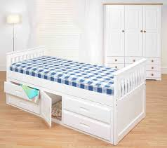 kids bed with desk box cream smooth minimalist laminated wooden