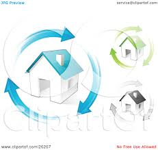 clipart illustration of blue green and gray homes with matching