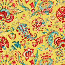 Yellow Home Decor Fabric Yellow Linen Floral Fabric Modern Red Upholstery Weight