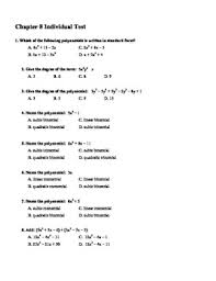 multiple choice test unit 8 multiplying and factoring polynomials