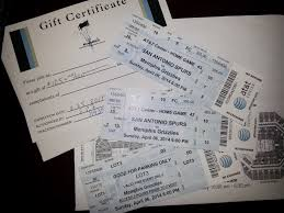 tickets gift card spurs tickets parking pass myron s gift certificate 735