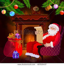 Decorated Christmas Tree Branches by Santa Claus Sitting On Chair By Stock Vector 487826446 Shutterstock