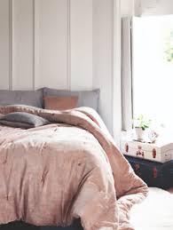 washed cotton luster velvet duvet cover shams dusty blush