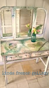 tri fold mirror vanity makeup table 1800s hand painted antique