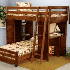 Bunk Bed With Desk And Drawers Brown Wooden Bunk Bed With Desk And Drawers Combined With