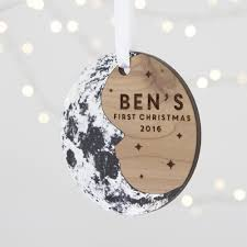 baby u0027s first christmas moon tree decoration by betsy benn