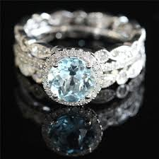 engagement rings sets solid gold bridal wedding set 7mm aquamarine engagement ring