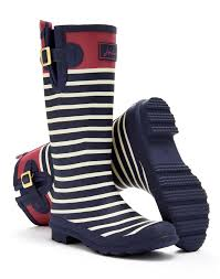 womens boots joules navy engineered stripe wellyprint womens print boot wellies
