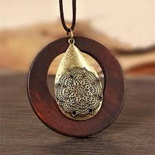 wood pendant necklace images Women 39 s stylish wood pendant necklace exclusive emporium jpg
