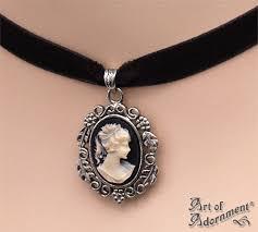 velvet choker necklace pendant images Patina ivory cameo pendant black velvet choker art of adornment jpg