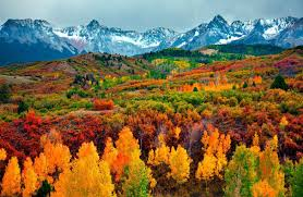 mountains mountain clouds blue nature red colorado trees colors