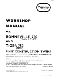 triumph workshop service manual 1977 u0026 1978 t140v bonneville 750