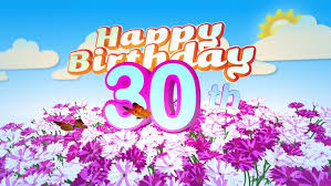 animated happy 35th birthday card with a field of flowers while