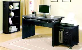 800821 home office desk in black w computer stand