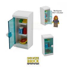 lego fridge kitchen fridge with food items pizza milk etc