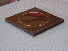 classy copper metal backsplash tiles with vintage metal circl wall