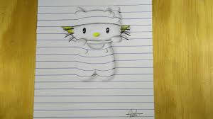 hello kitty writing paper how to draw 3d hello kitty with lined paper effect of drawing how to draw 3d hello kitty with lined paper effect of drawing speed