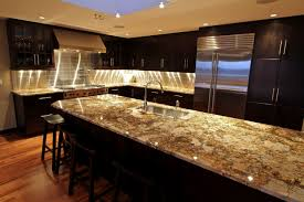 granite countertop pictures of espresso kitchen cabinets metal