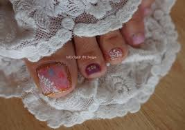 toes art design tutorial gold glitter white lace japanese