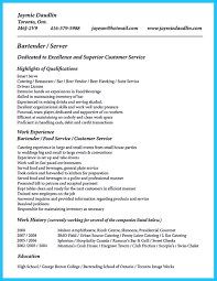 Resume Work Experience Examples For Customer Service by Outstanding Details You Must Put In Your Awesome Bartending Resume