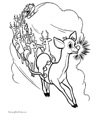 free printable rudolph red nose reindeer coloring pictures