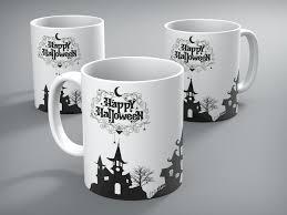 haunted house black and white halloween mug victor cotton