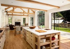 Open Kitchen Dining Room Lovely Open Kitchen With Rustic Beams And Wood Floors Kitchen