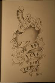 dagger in heart with rose and death banner tattoo design by chris