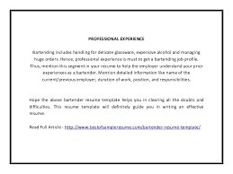 Bartender Responsibilities For Resume Bartender Resume Template Pdf