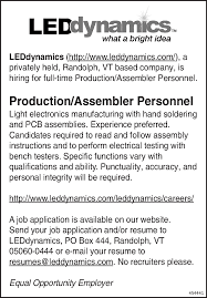 Resumes For Manufacturing Jobs by Production Assembler Personnel Job In Randolph Vt 05060