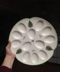 christmas deviled egg plate spode christmas tree green trim deviled egg plate new with price