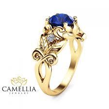 gold art rings images Blue sapphire leaf engagement ring 14k yellow gold art nouveau jpg