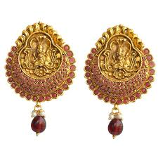 temple design gold earrings temple design earrings by the pari earrings homeshop18