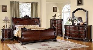 cherry sleigh bed amazon com furniture of america clairmonte baroque style sleigh
