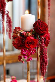 Floral Decor Bold Red Wedding Reception Floral Decor Rose Wedding Romantic