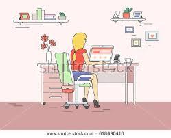 Line Desk Correct Sitting Desk Posture Ergonomics Office Stock Vector