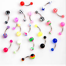 double belly rings images 100pcs lot new acrylic belly button rings double belly piercing jpg