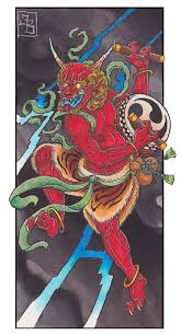 raijin by james bird mythical japanese god tattoo canvas art print