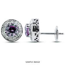 purple stud earrings 1 30 carat tw brilliant 14k white gold vintage style halo