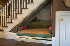 design dog bed staircase traditional with designer kathleen