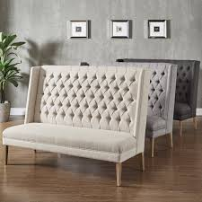 sawyer straight back tufted linen upholstered bench by inspire q