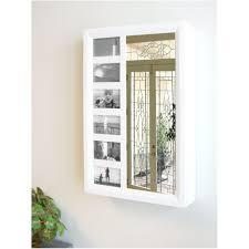 white mirrored jewelry cabinet armoire organizer storage wall